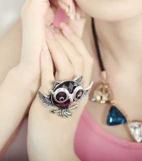 antique statement rings, crystal owl rings and garnet owl rings