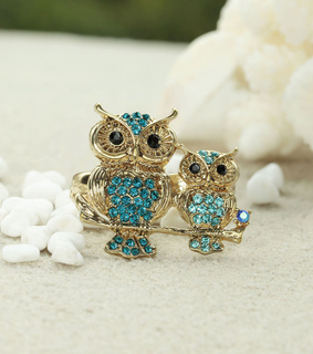 gold owl two finger rings, owl rings and owl two finger rings