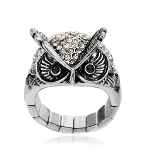 antique owl ring, cocktail owl ring and crystal owl ring