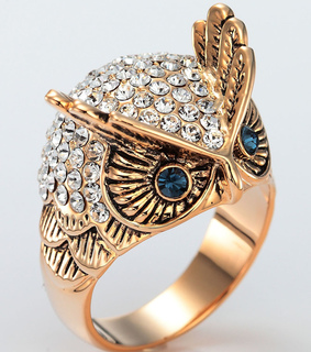 dome owl ring, gold owl ring and owl ring