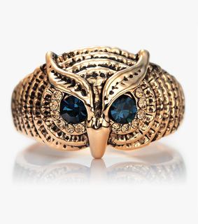 cocktail owl rings, cute and czech rhinestone owl rings