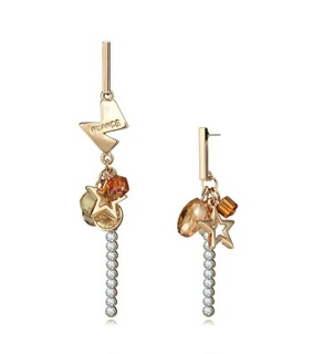 asymmetric charm earrings, asymmetrical earrings and crystal mismatched earrings