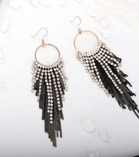 dangle earrings, fringe long earring and gold plated dangle earrings
