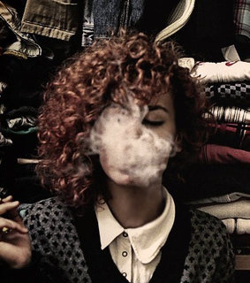 cigarette, clothes and curly