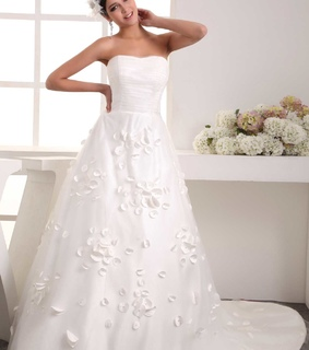 a-line wedding dress, applique and low back