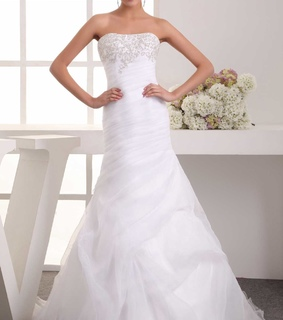 applique, organza and pleated wedding dress
