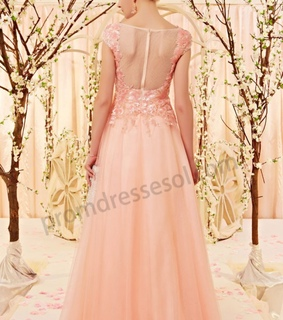 floor length, organza and pink