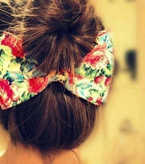 bow, bun and hairstyle