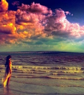 clouds, girl and horizont