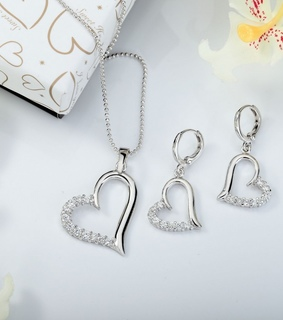 heart necklace set, open heart jewelry set and heart necklace earrings set