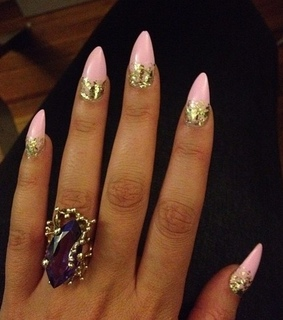 acrylics, glitter and pink nails