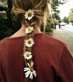 brown hair, daisy and fishtail
