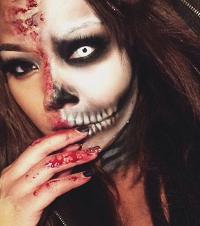 girl, halloween and makeup