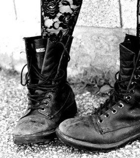 black and white, boots and brutal
