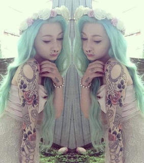 color hair, girl and green