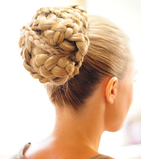 blonde, braided bun and classy