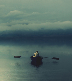 alone, boat and cloud