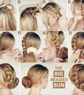 braid, braided bun and bun