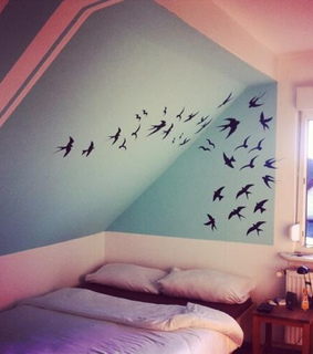 bed, birds and black