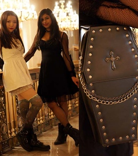 coffin purse, asian goth and goth girls