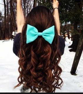 bow, brown hair and curls