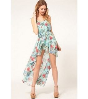 chiffon, floral print and high low