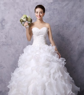ball gown, bridal gown and organza