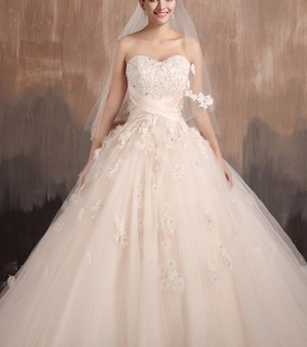 ball gown, bridal gown and tulle wedding dress