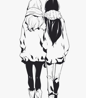 anime, anime girls and black and white