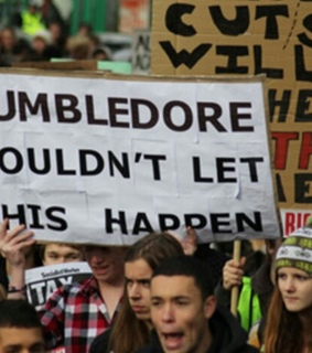 crowd, demonstration and dumbledore