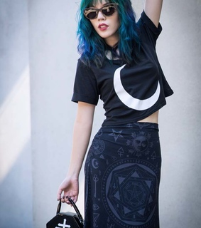 killstar, wood sunglasses and coffin purse