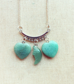 bohemian necklace, heart necklace and moon necklace