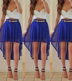 blue, fashion and high low