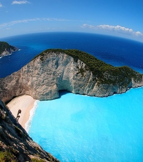 blue, greece and mountains