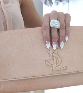 beige, clutch and girly