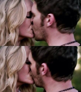 caroline forbes, hot couple and kiss