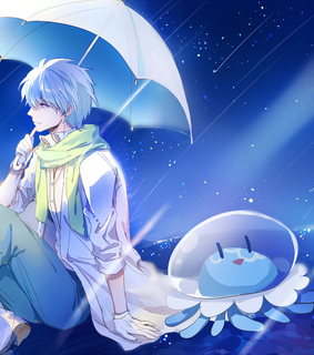 cute anime boy, fan art and jelly fish