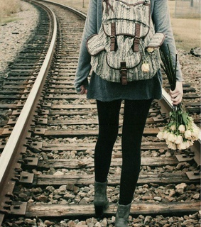 alone, backpack and black