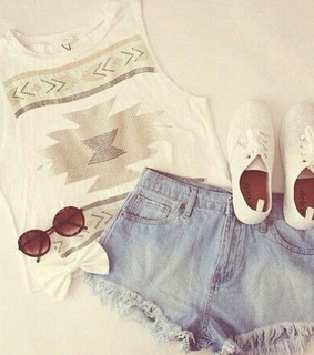 accessorize, high waisted denim shorts and light colors