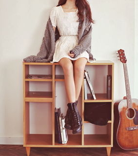 brunette, fashion and guitar