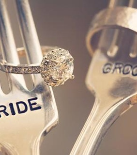 bride and groom and wedding rings