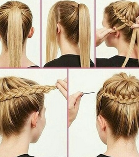 braided bun, bun and hair updo