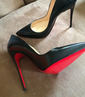 black, christian louboutin and heels