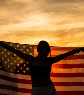 americana, flag and sunset