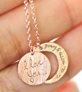 love necklace, moon necklace and necklace