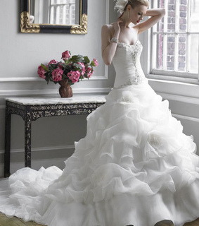 ball gown, organza and strapless