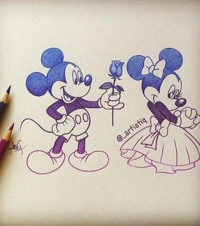 cute, drawing and mickey