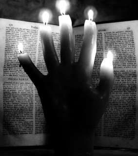 black and white, book and candles