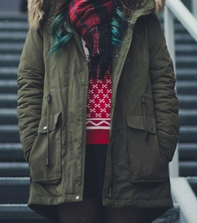 black tights, plaid scarf and red sweater