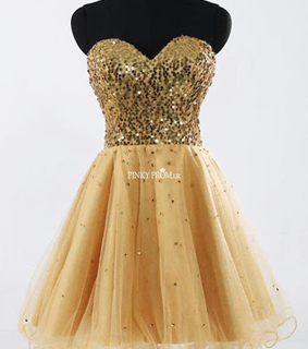 golden dress, sequin dress and short prom dress